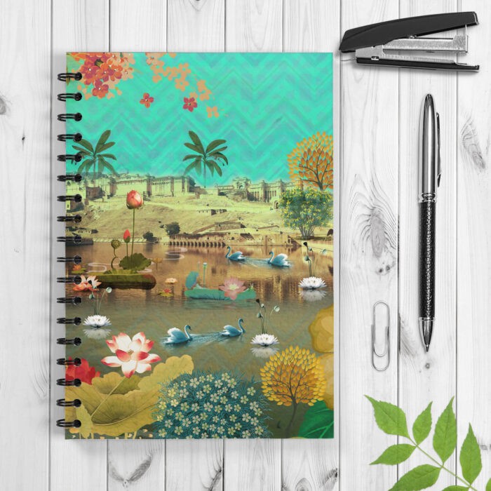 Historical Fort and Floral Themed Spiral Notebook