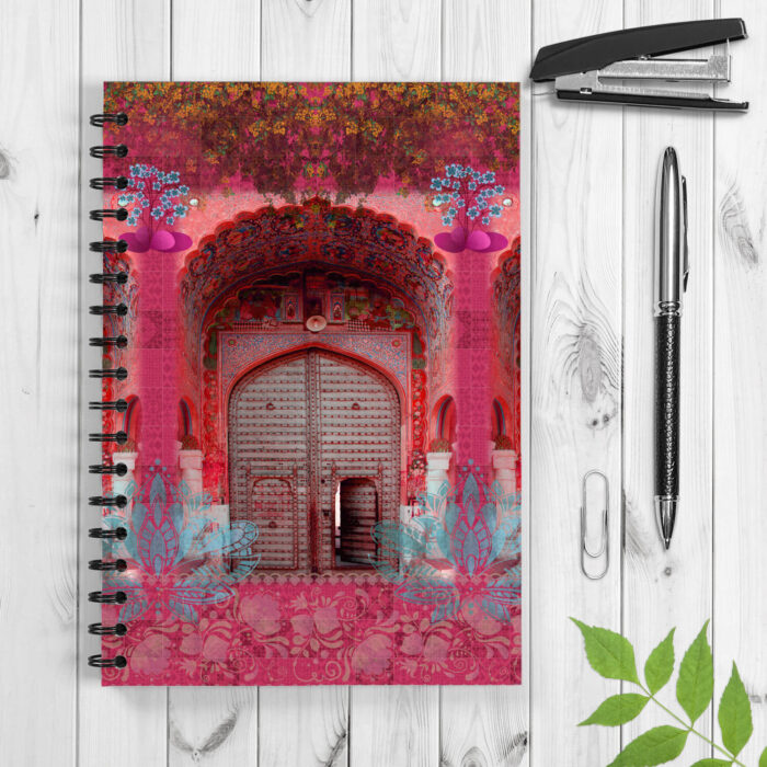 Themed from a haveli entrance, this notebook depicts the iconic heritage buildings. The strong front & back cover is 300 GSM paper and its 120 pages use 70 GSM natural shade paper. The front and back covers are coated with ultra-HD inks to provide super-rich and crisp prints. Gift it or have it for yourself, it will bring up your mood with its vibrant colours.
