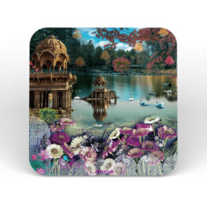 Traditional Rajasthani Lake Scene Table Coasters - Set of 6