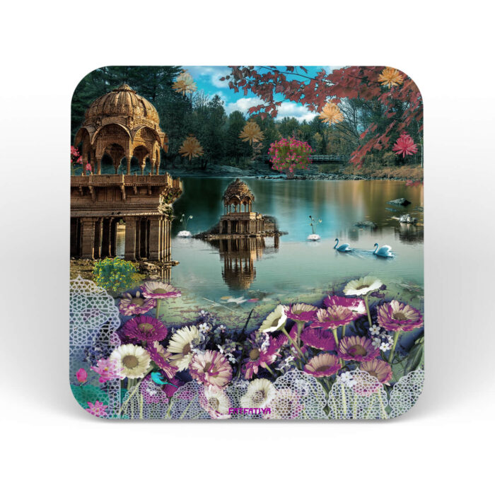 Traditional Rajasthani Lake Scene Table Coasters - Set of 6