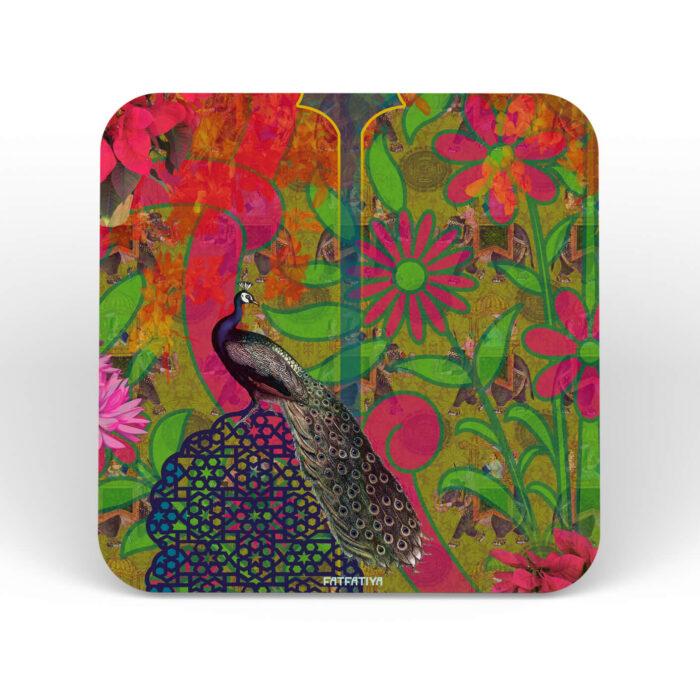 Multicoloured Peacock Table Coasters - Set of 6