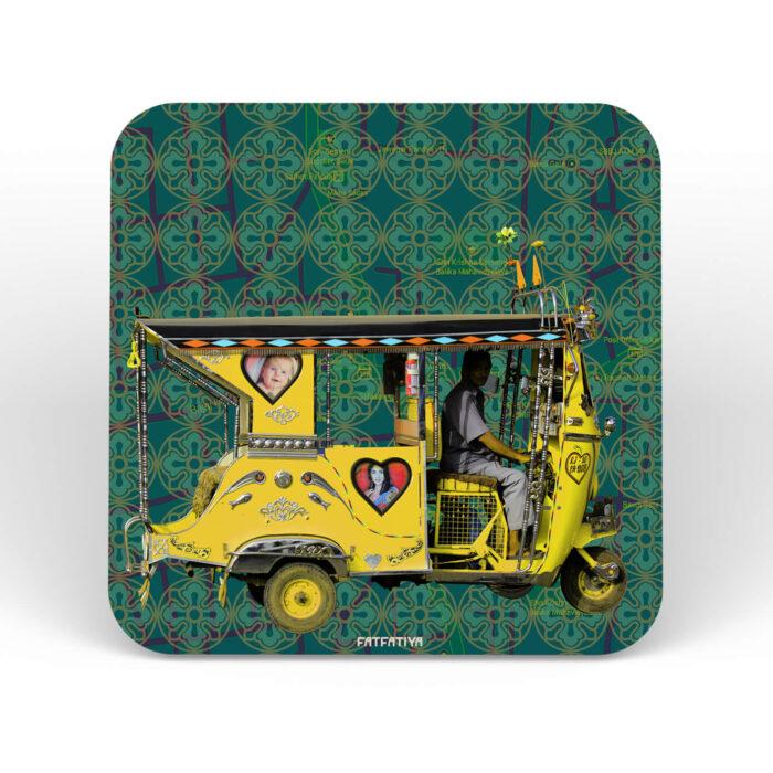 Yellow Auto Rickshaw Table Coasters - Set of 6