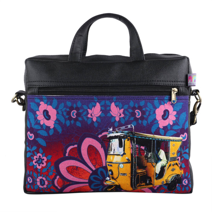Shekhawati Auto Rickshaw Canvas PU Laptop Bag