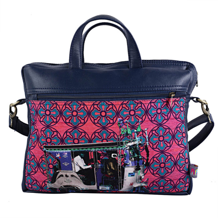 Blue Silver Taxi Canvas PU Laptop Bag for Women