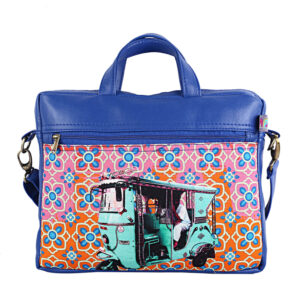 Turquoise Green Auto Canvas PU Designer Laptop Bag