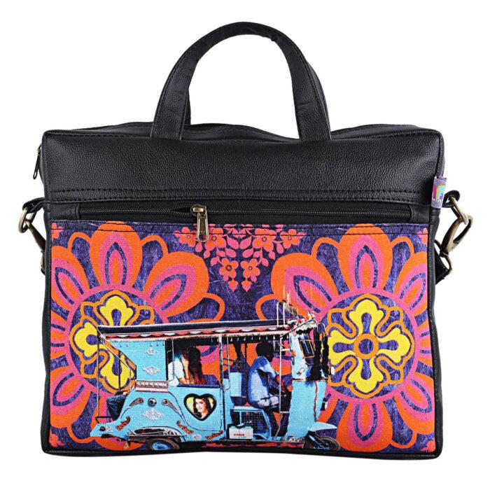 Sky Blue Auto Designer Canvas Pu Laptop Bag