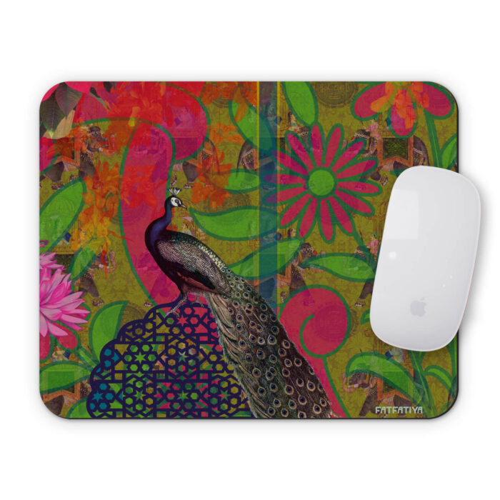 Intensely Beautiful Peacock and Flower Mouse Pad