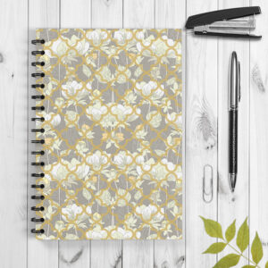 White Lotus Flower Pattern Spiral Notebook