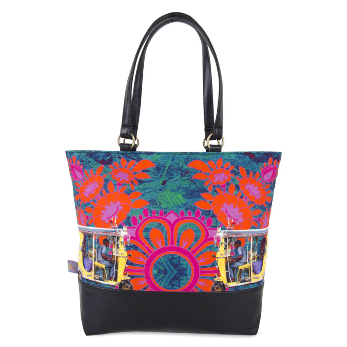 Two Yellow Taxi's Canvas and PU Women Tote Bag