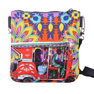 Crimson Taxi Designer Canvas PU Sling Bag