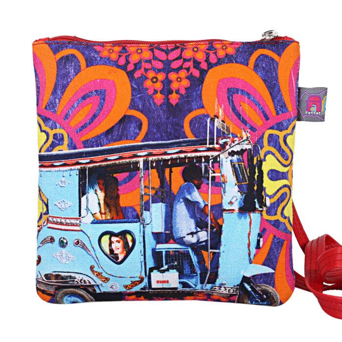 Sky Blue Taxi Designer Canvas PU Sling Bag