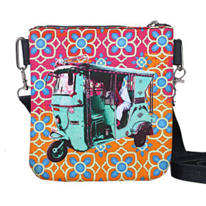 Turquoise Green Taxi Canvas PU Sling Bag