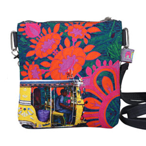 Yellow Taxi Designer Canvas PU Sling Bag