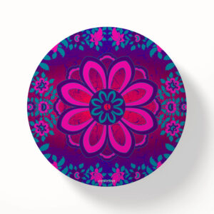 Sparkling Flower Motif Printed MDF Wood Coaster Set of 6 Pcs