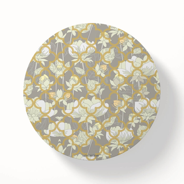 White Lotus Flower MDF Board set of 6 Coasters
