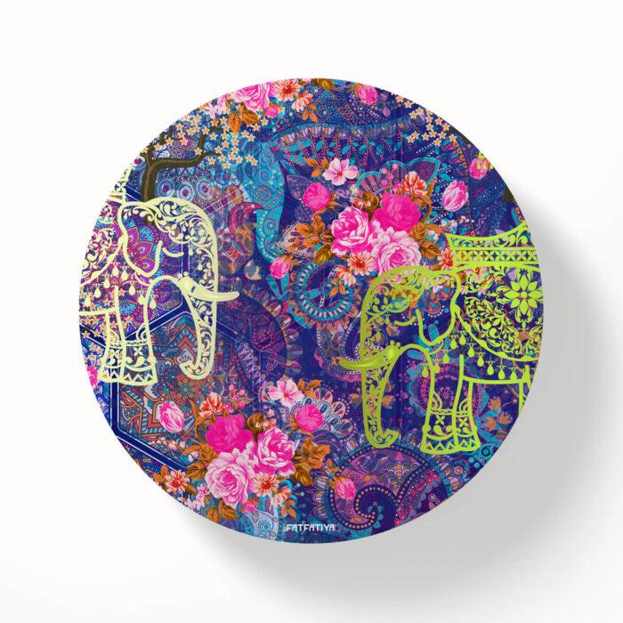 Two Decorated Elephant Designer Printed Coasters Set of 6 PCS