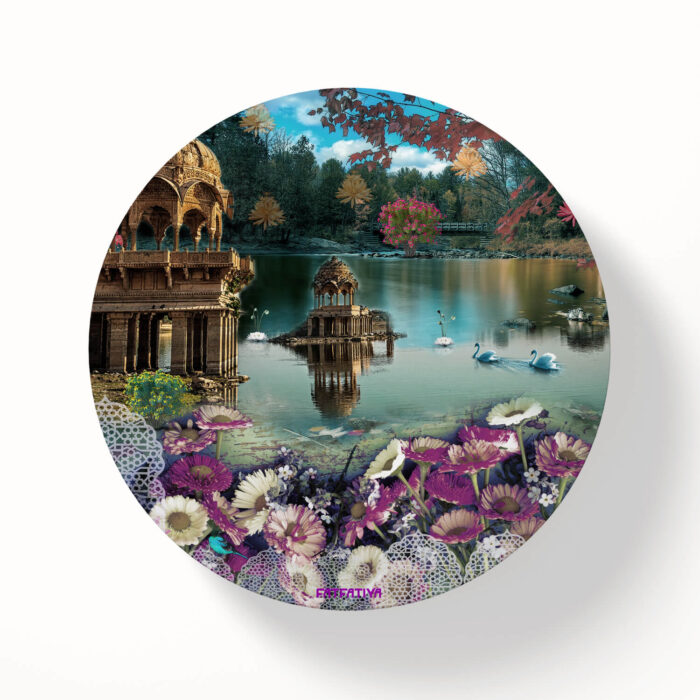 Gadisar Lake Scene Table Coasters - Set of 6