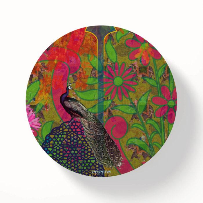 Rajasthani Peacock Designer Table Coasters - Set of 6