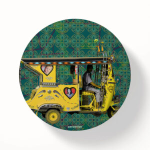 Yellow Auto Rickshaw Table Coasters - Set of 6