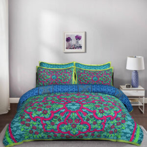 5 Piece Pink Green Flower Motif King Size Cotton Quilted Bedspread