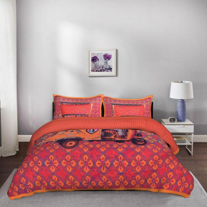 Orange Auto Rickshaw 5 Piece King Size Cotton Quilted Bedspread