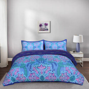 Psychedelic Floral 5 Piece King Size Cotton Quilted Bedspread