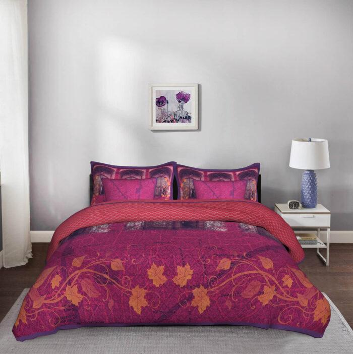 Shekhawati Doorway 5 Piece King Size Cotton Quilted Purple Bedspread