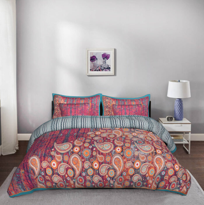 Colour Crush 5 Piece King Size Designer Cotton Quilted Bedspread