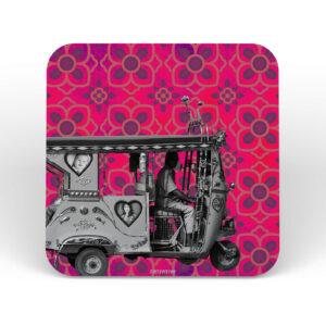 Silver Taxi Designer MDF Boards Coaster Set of 6 Pcs