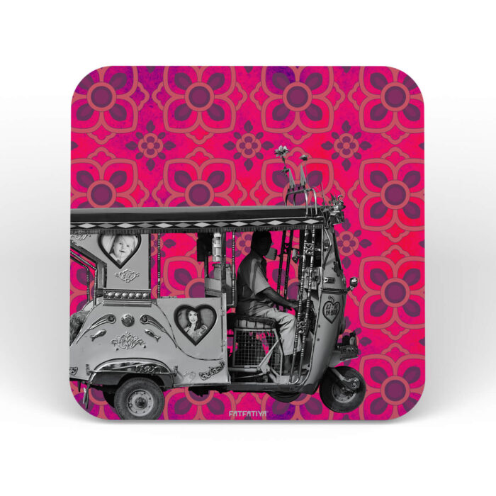 Silver Taxi Designer MDF Boards Coaster Set of 6 Pcs