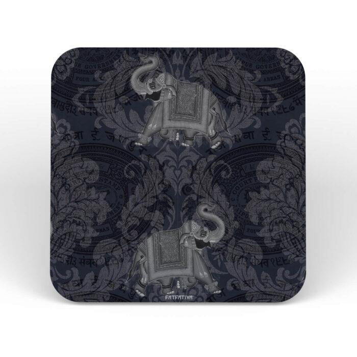 Jaipuri Ele/Hathi MDF Table Coaster Set of Six