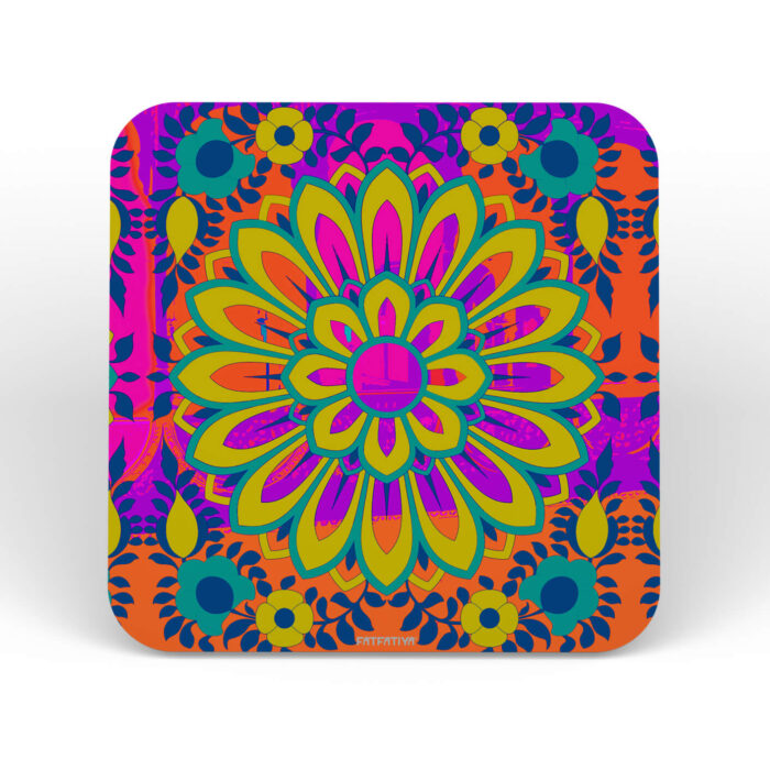 Vibrant Flower Designer MDF wood Table Coaster Set of 6 Pcs