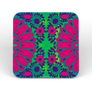 Blooming Flower Design Printed MDF Coaster Set of 6 Pcs
