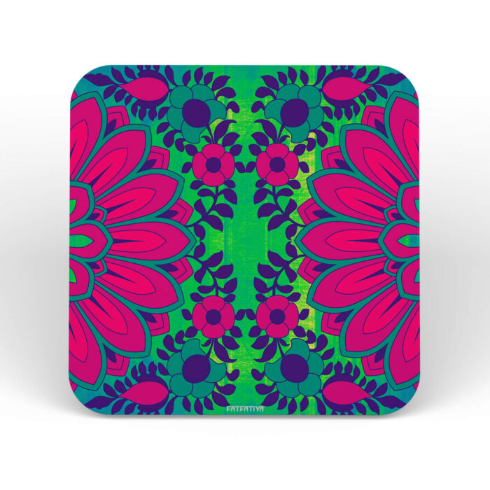 Blooming Flower Design Printed MDF Coaster Set of 6 Pcs