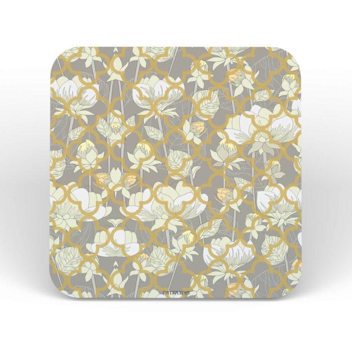 White Lotus Flower MDF Board set of 6 Coasters