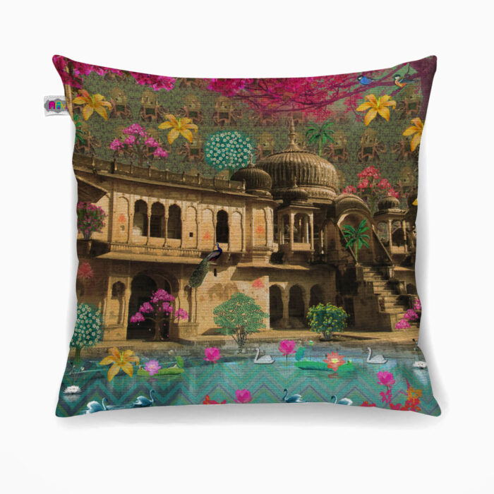 Fort in a Lake Poly Canvas Cushion Cover