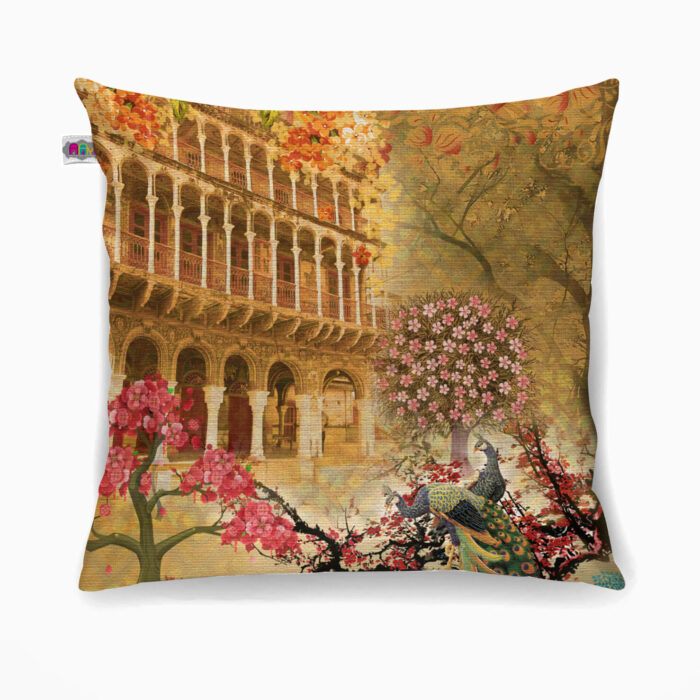 Haveli and Floral Poly Canvas Cushion Cover