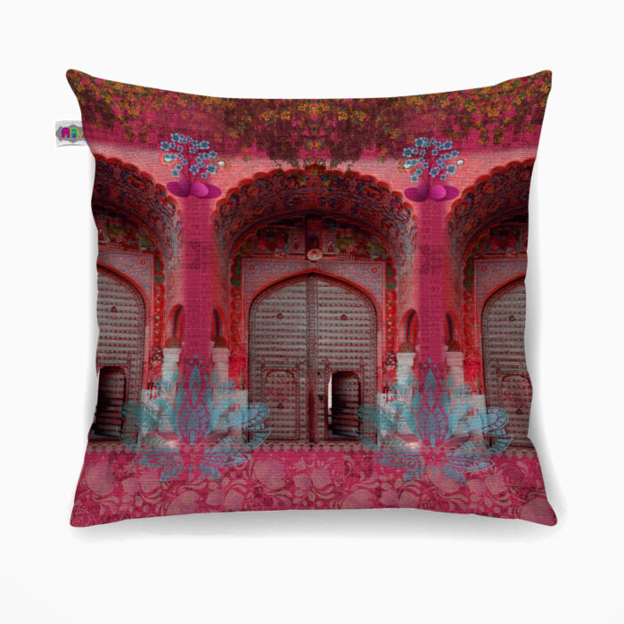 Pink Royal Door Poly Canvas Cushion Cover