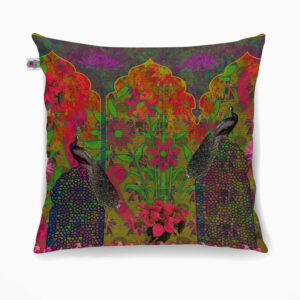 Beautiful Peacock and Flower Poly Canvas Cushion Cover