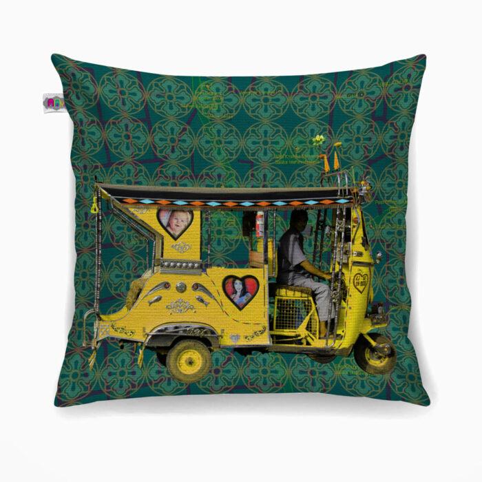 Yellow Auto Rickshaw Poly Canvas Cushion Cover
