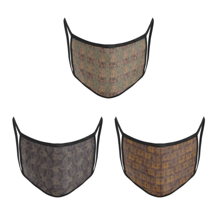 3 Layer Printed Protective Face Mask - Pack of 3 (Brown Combo)