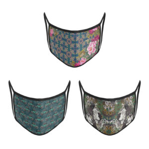 3 Layer Printed Protective Face Mask - Pack of 3 (Green-Vintage Car-Grey Brown)