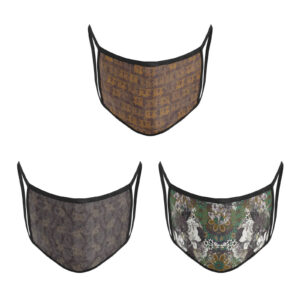 3 Layer Printed Protective Face Mask - Pack of 3 (Auto-Elephant-Grey Brown)