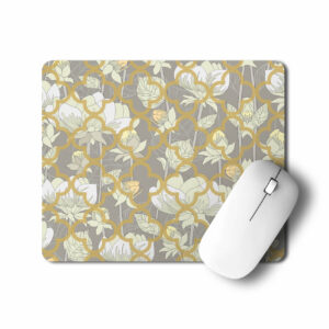 White Lotus Flower Pattern Office Mouse Pad