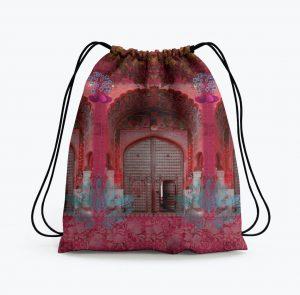 Pink Royal Door Design Drawstring Bag