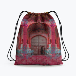 Pink Royal Door Design Drawstring Bag