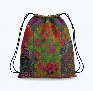 Beautiful Peacock and Flower Drawstring Bag
