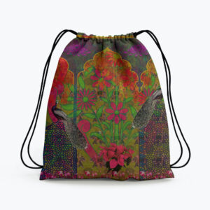 Beautiful Peacock and Flower Drawstring Bag