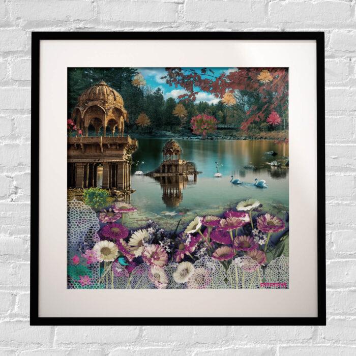 Beautiful Gadisar Lake Framed Indian Wall Art Print