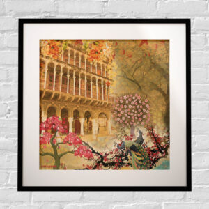 Historical Fort and Floral Framed Indian Wall Art Print